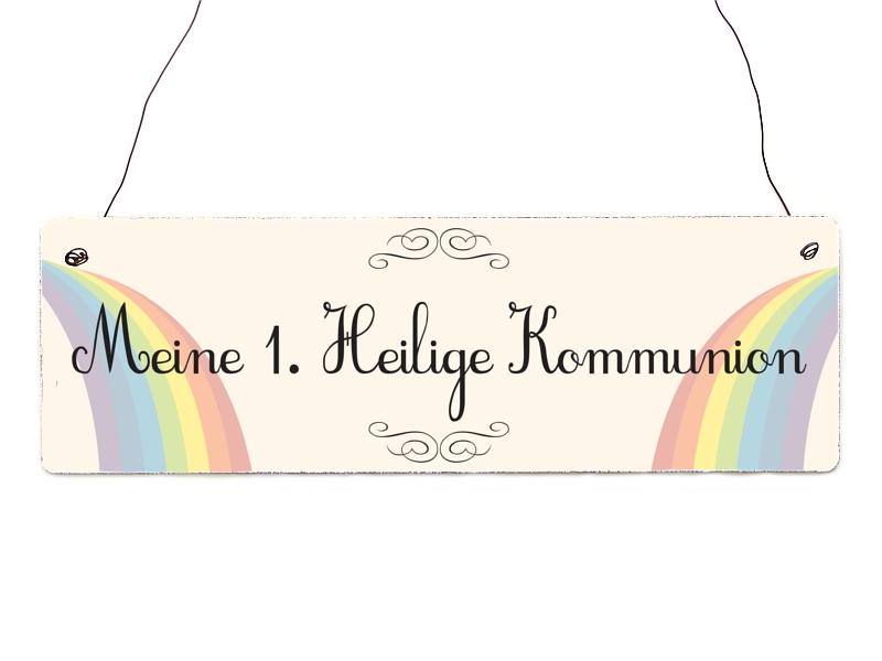 interluxe holzschild meine 1 heilige kommunion regenbogen geschenk. Black Bedroom Furniture Sets. Home Design Ideas