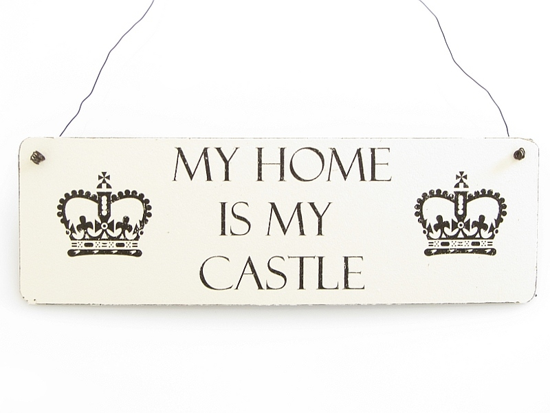 Vintage deko schild t rschild my home is my castle shabby for My home deko