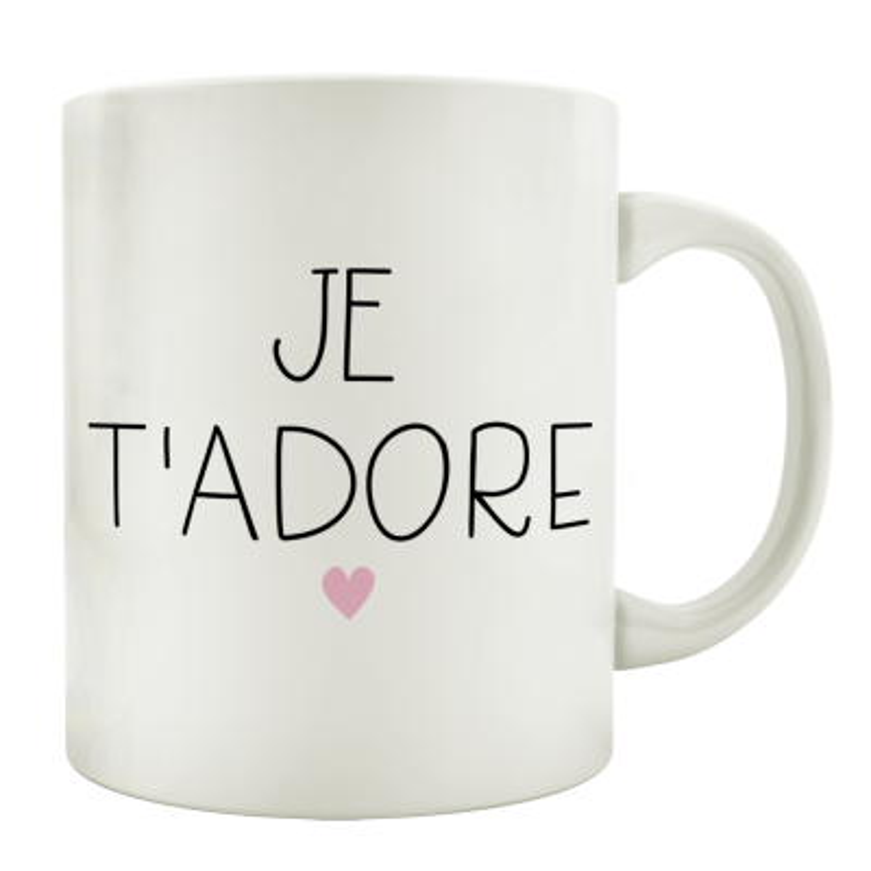 TASSE Kaffeebecher JE T\ADORE Ich bete dich an Französisch Liebe Geschenk