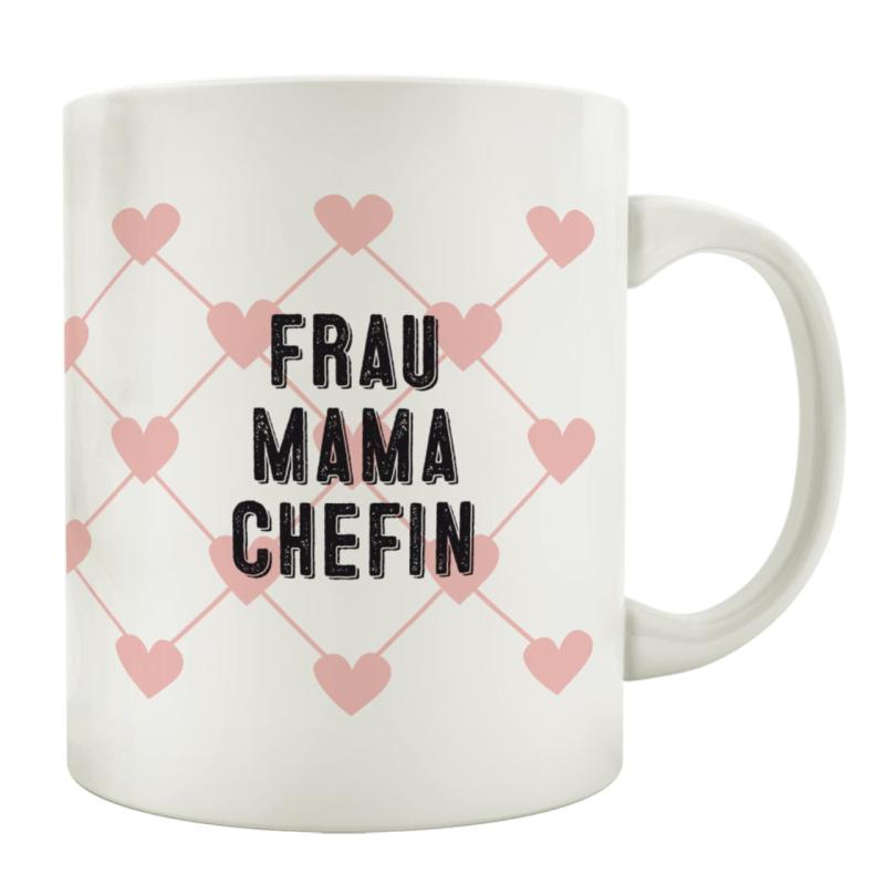 Tasse Kaffeebecher Frau Mama Chefin Rosa Herz Geschenk Muttertag Gebu