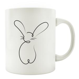 TASSE Kaffeebecher - Bunny - Hase Line Art Geschenk...